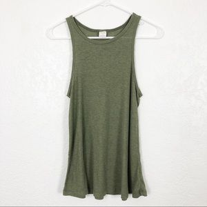 SUN & SHADOW Rib Knit Tank Olive M